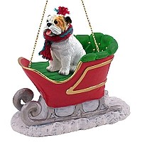 Bulldog White Sleigh Ride Ornament