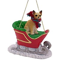 Chihuahua Tan & White Sleigh Ride Ornament