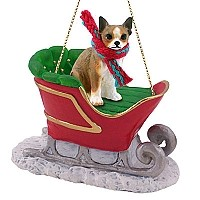 Chihuahua Brindle & White Sleigh Ride Ornament