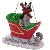 German Shepherd Black & Silver Sleigh Ride Ornament