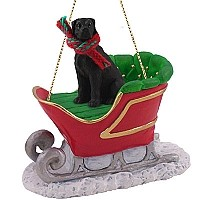 Great Dane Black w/Uncropped Ears Sleigh Ride Ornament