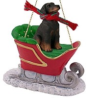 Doberman Pinscher Red w/Uncropped Ears Sleigh Ride Ornament