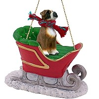 Boxer w/Uncropped Ears Sleigh Ride Ornament
