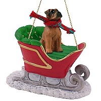 Boxer Tawny w/Uncropped Ears Sleigh Ride Ornament