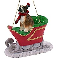 Boxer Brindle w/Uncropped Ears Sleigh Ride Ornament