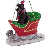 Schnauzer Black w/Uncropped Ears Sleigh Ride Ornament
