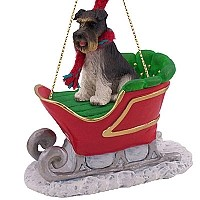 Schnauzer Gray w/Uncropped Ears Sleigh Ride Ornament
