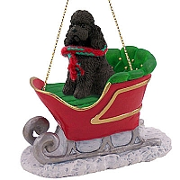 Poodle Chocolate w/Sport Cut Sleigh Ride Ornament