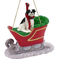 Jack Russell Terrier Black & White w/Smooth Coat Sleigh Ride Ornament