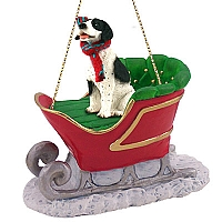 Pointer Black & White Sleigh Ride Ornament