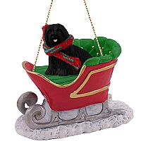 Lhasa Apso Black Sleigh Ride Ornament