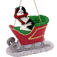 Japanese Chin Black & White Sleigh Ride Ornament