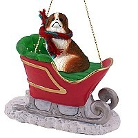 Japanese Chin Red & White Sleigh Ride Ornament