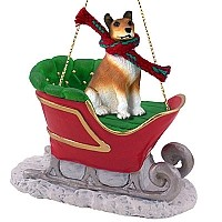 Collie Smoth Hair Sleigh Ride Ornament