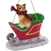 Chihuahua Longhaired Sleigh Ride Ornament