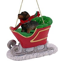 Wire Haired Dachshund Red Sleigh Ride Ornament
