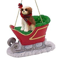 Shih Tzu Tan w/Sport Cut Sleigh Ride Ornament