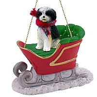 Shih Tzu Black & White w/Sport Cut Sleigh Ride Ornament