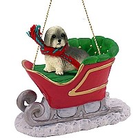 Lhasa Apso Gray w/Sport Cut Sleigh Ride Ornament
