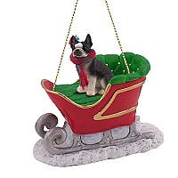 Boston Terrier Sleigh Ride Ornament
