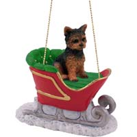 Yorkshire Terrier Puppy Cut Sleigh Ride Ornament