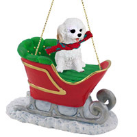 Cockapoo White Sleigh Ride Ornament