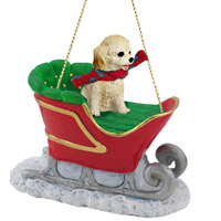 Cockapoo Blond Sleigh Ride Ornament