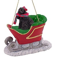 Cocker Spaniel Black Sleigh Ride Ornament