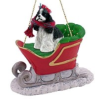 Cocker Spaniel Black & White Sleigh Ride Ornament