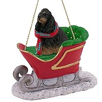 Cocker Spaniel Black & Tan Sleigh Ride Ornament