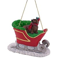 Dachshund Red Sleigh Ride Ornament