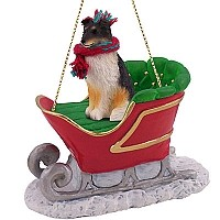 Sheltie Tricolor Sleigh Ride Ornament