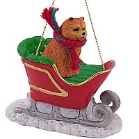 Chow Red Sleigh Ride Ornament