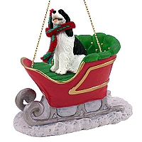 Springer Spaniel Black & White Sleigh Ride Ornament