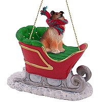 Collie Sable Sleigh Ride Ornament