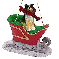 Collie Tricolor Sleigh Ride Ornament