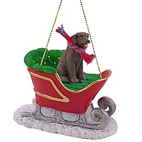 Labrador Retriever Chocolate Sleigh Ride Ornament