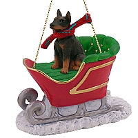 Doberman Pinscher Red w/Cropped Sleigh Ride Ornament