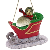 Shih Tzu Mixed Sleigh Ride Ornament