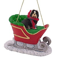 Shih Tzu Black & White Sleigh Ride Ornament