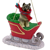 Keeshond Sleigh Ride Ornament