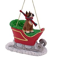 Boxer Sleigh Ride Ornament