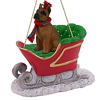 Boxer Tawny Sleigh Ride Ornament