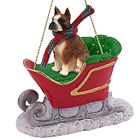 Boxer Brindle Sleigh Ride Ornament