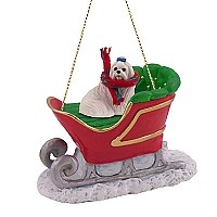 Maltese Sleigh Ride Ornament