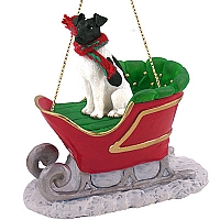 Fox Terrier Black & White Sleigh Ride Ornament