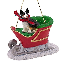 Welsh Corgi Cardigan Sleigh Ride Ornament