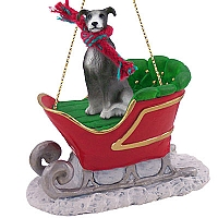 Greyhound Blue Sleigh Ride Ornament