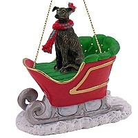 Greyhound Brindle Sleigh Ride Ornament