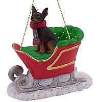 Miniature Pinscher Tan & Black Sleigh Ride Ornament